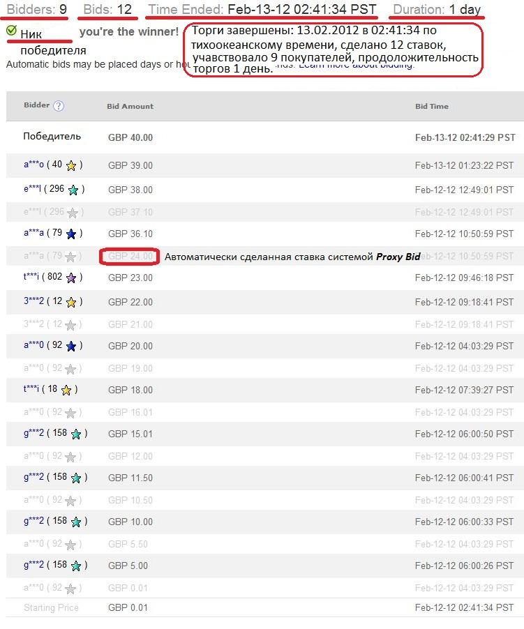 Пример списка ставок на лот, скриншот с сайта eBay.com