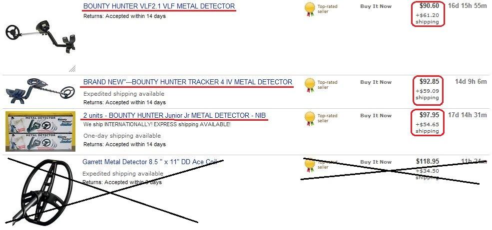 Результаты поиска металлоискателей на eBay