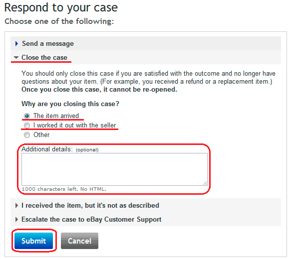 Закрыть диспут на eBay