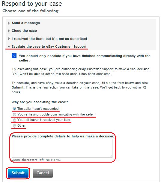 Перевод диспута в претензию - CLAIM на eBay