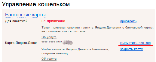 Карта активирована и привязана к счёту Яндекс.Денег, теперь можно выпустить для нее пин-код