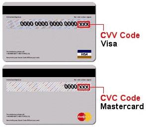 Различные виды CSC кодов на картах VISA и MasterCard