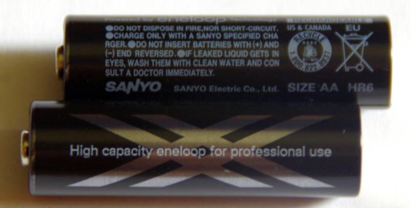 Цилиндрическая часть аккумулятора Sanyo Eneloop XX