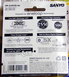 Обратная сторона блистера с батарейками Sanyo Eneloop XX