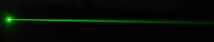 Луч лазерной указки под углом 35-45 градусов к оси объектива