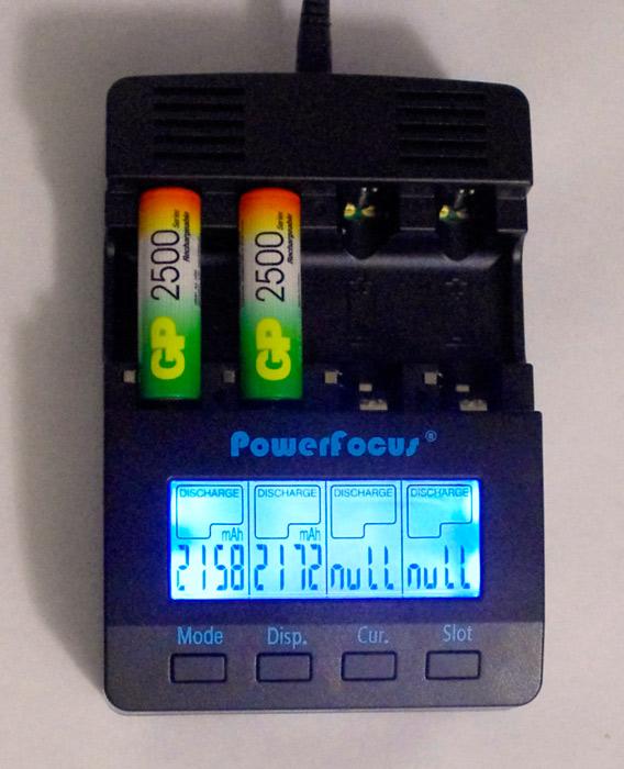 Режим разрядки завершен, устройство показало ёмкость аккумуляторов