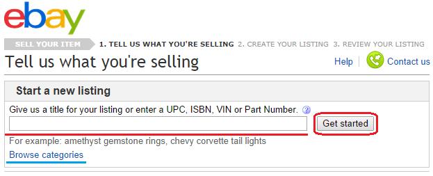 Введите название того, что Вы хотите продать на eBay