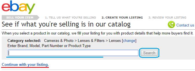 Поиск стандартного описания для распространённого товара на ebay