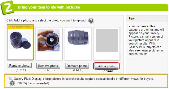Подготовка описания товара - добавление фотографий в объявление о продаже товара на eBay